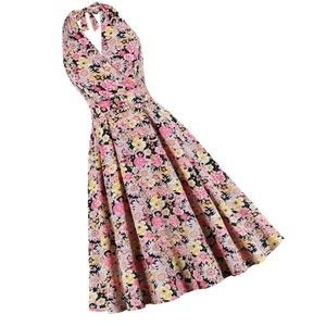 Dresses & Skirts - Floral Halter Sleeveless Summer Pin Up Dress